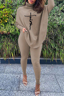 Coffee Casual Print Split Joint Asymmetrical Turtleneck Long Sleeve Two Pieces