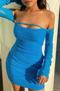 Blue Sexy Solid Hollowed Out Backless Fold Off the Shoulder Long Sleeve Dresses