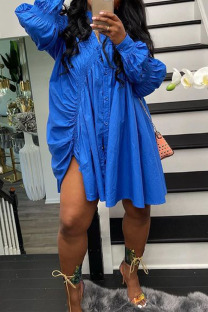 Blue Casual Solid Split Joint Buckle Turndown Collar A Line Dresses