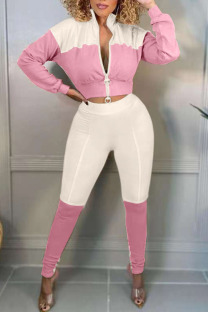 Pink Casual Solid Split Joint Zipper Zipper Collar Long Sleeve Two Pieces