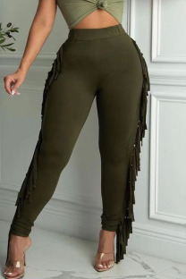 Army Green Casual Solid Tassel Split Joint Skinny High Waist Pencil Solid Color Bottoms