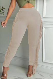 Khaki Casual Solid Tassel Split Joint Skinny High Waist Pencil Solid Color Bottoms
