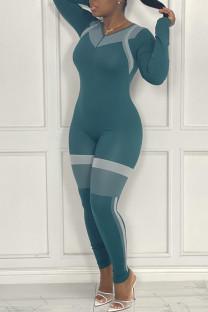 Blue Casual Sportswear Print Split Joint Zipper Collar Skinny Jumpsuits