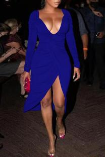 Peacock Blue Sexy Solid Split Joint Fold Asymmetrical V Neck A Line Dresses