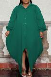 Burgundy Fashion Elegant Solid Split Joint Turndown Collar Irregular Dress Plus Size Dresses