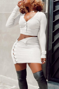 Cream White Sexy Solid V Neck Long Sleeve Two Pieces