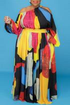 Multi-color Fashion Casual Print Hollowed Out Oblique Collar Long Sleeve Plus Size Dresses
