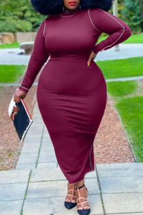 Burgundy Casual Solid Split Joint O Neck One Step Skirt Plus Size Dresses