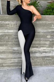 Black Sexy Solid Split Joint Oblique Collar Boot Cut Jumpsuits