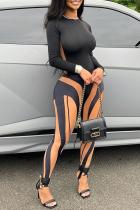 Black Orange Fashion Casual Patchwork Basic O Neck Long Sleeve Two Pieces