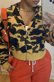 Green Fashion Casual Print Split Joint Zipper Hooded Collar Outerwear