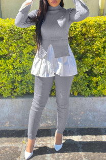 Grey Fashion Casual Patchwork Asymmetrical Half A Turtleneck Long Sleeve Two Pieces