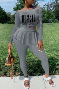 Silver Gray Casual Print Split Joint Flounce Off the Shoulder Long Sleeve Two Pieces