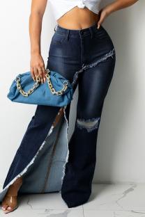 Blue Fashion Street Ripped Make Old Split Joint Asymmetrical High Waist Boot Cut Denim Jeans