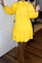 Yellow Casual Solid Bandage Half A Turtleneck Cake Skirt Dresses