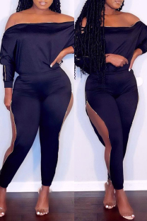 Black Fashion Casual Solid Hollowed Out Off the Shoulder Long Sleeve Two Pieces