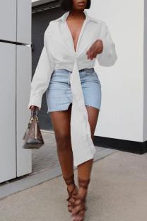 White Fashion Casual Solid Bandage Turndown Collar Tops