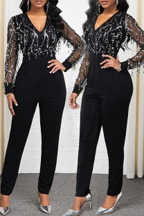 Black Sexy Patchwork Sequins See-through Mesh V Neck Straight Jumpsuits