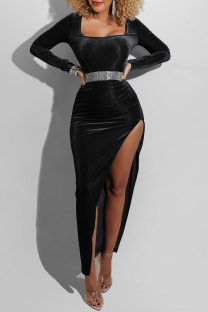 Black Fashion Sexy Solid Slit Square Collar Long Sleeve Dresses