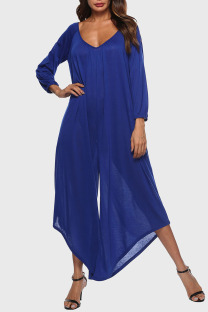 Blue Casual Solid Split Joint Asymmetrical V Neck Loose Jumpsuits
