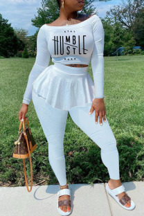 White Casual Print Split Joint Flounce Off the Shoulder Long Sleeve Two Pieces