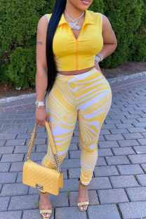 Yellow Fashion Casual Striped Vests Pants Zipper Collar Sleeveless Two Pieces