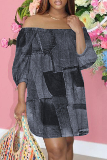 Black Fashion Casual Print Backless Off the Shoulder Printed Dress