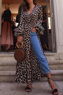 Brown Sexy Elegant Print Leopard High Opening V Neck Straight Dresses
