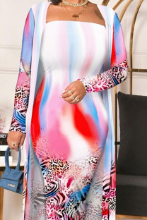 Colour Sexy Elegant Print Split Joint Strapless Long Sleeve Two Pieces