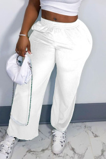 White Casual Solid Split Joint Straight Straight Solid Color Bottoms