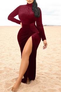 Burgundy Elegant Solid Split Joint High Opening Turtleneck Straight Dresses