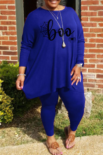 Blue Casual Print Split Joint O Neck Plus Size Two Pieces