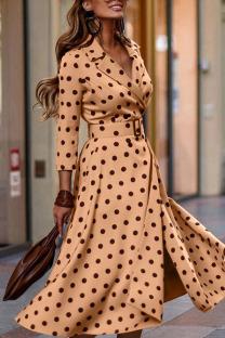Shallow Yellow Elegant Print Polka Dot Split Joint V Neck Long Sleeve Dresses