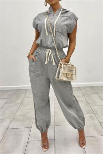 Grey Fashion Casual Solid Basic Zipper Collar Regular Jumpsuits