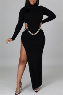 Black Fashion Sexy Solid Hollowed Out Slit O Neck Long Sleeve Dresses (Without Waist Chain)