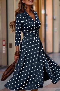 Deep Blue Elegant Print Polka Dot Split Joint V Neck Long Sleeve Dresses