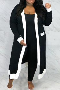 Black Casual Solid Split Joint Outerwear