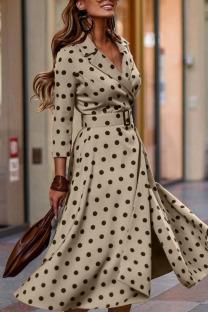 Khaki Elegant Print Polka Dot Split Joint V Neck Long Sleeve Dresses