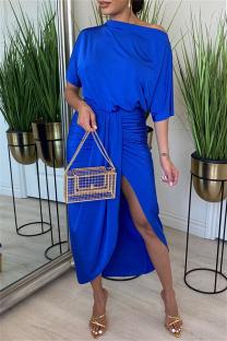 Blue Fashion Casual Solid Split Joint Oblique Collar Irregular Dress