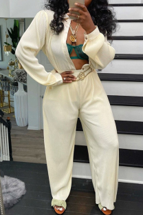 Cream White Fashion Casual Solid Cardigan Pants Turndown Collar Long Sleeve Two Pieces