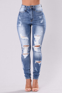 Light Blue Fashion Casual Solid Ripped High Waist Skinny Denim Jeans