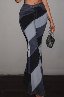 Grey Fashion Casual Print Basic Boot Cut High Waist Trousers