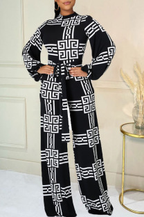 Black Casual Print Split Joint With Belt O Neck Straight Jumpsuits