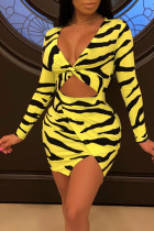 Yellow Sexy Print Hollowed Out Split Joint Asymmetrical V Neck One Step Skirt Dresses
