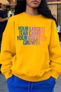 Yellow Work Sportswear Gradual Change Split Joint O Neck Tops