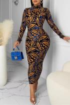 Light Brown Fashion Sexy Print Backless Half A Turtleneck Long Sleeve Dresses