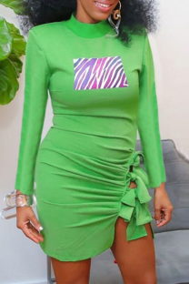 Green Sexy Print Split Joint O Neck Irregular Dress Dresses