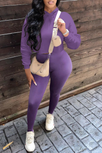 Purple Casual Solid Split Joint Hooded Collar Long Sleeve Two Pieces
