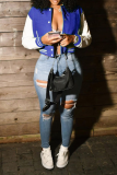 Blue Casual Solid Buckle Outerwear