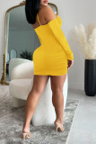 Yellow Sexy Solid Split Joint Draw String Fold V Neck One Step Skirt Dresses